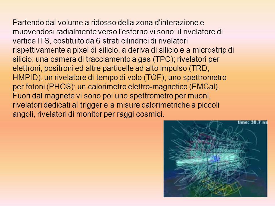 Partendo dal volume a ridosso della zona d'interazione e muovendosi radialmente verso l'esterno vi sono: il rivelatore di vertice ITS, costituito da 6
