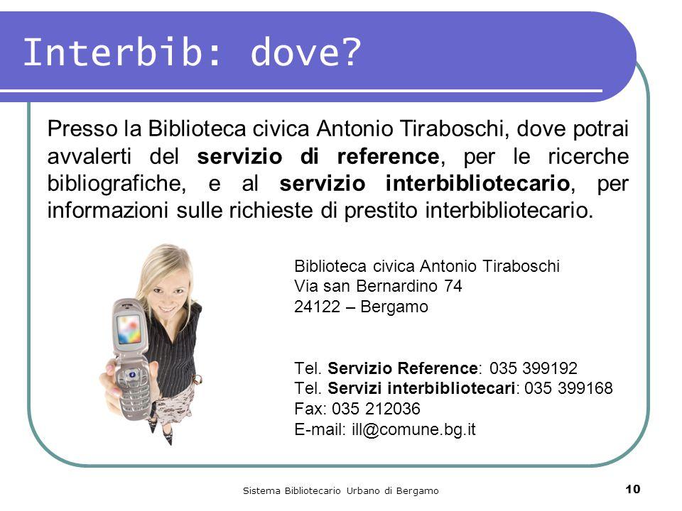 Sistema Bibliotecario Urbano di Bergamo 10 Interbib: dove.