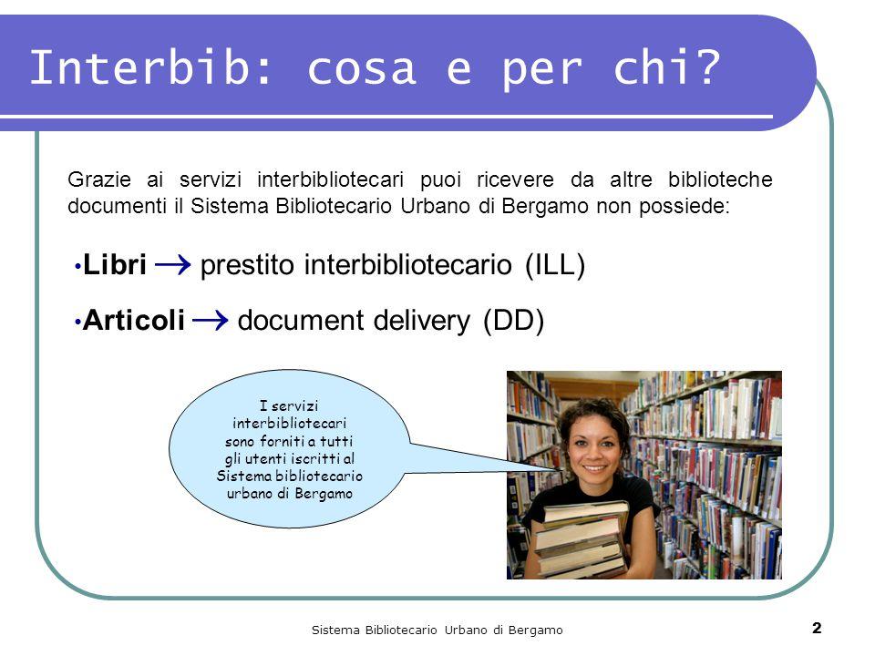 Sistema Bibliotecario Urbano di Bergamo 2 Interbib: cosa e per chi? Libri  prestito interbibliotecario (ILL) Articoli  document delivery (DD) Grazie