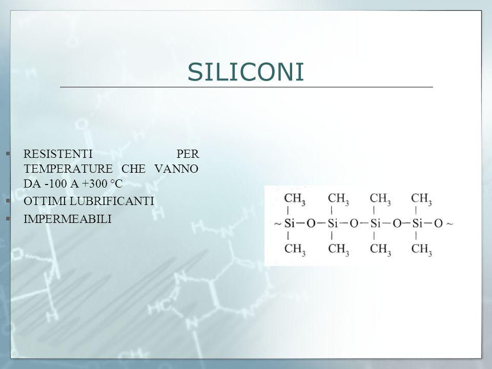 SILICONI  RESISTENTI PER TEMPERATURE CHE VANNO DA -100 A +300 °C  OTTIMI LUBRIFICANTI  IMPERMEABILI