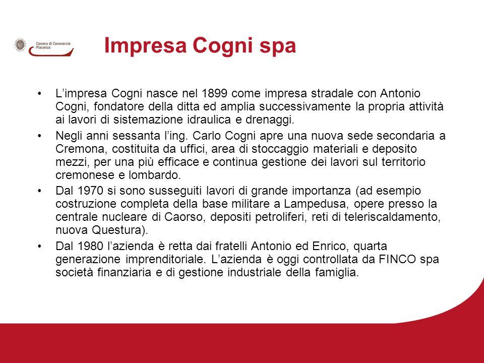Impresa Cogni spa L'impresa Cogni nasce nel 1899 come impresa stradale con Antonio Cogni, fondatore della ditta ed amplia successivamente la propria attività ai lavori di sistemazione idraulica e drenaggi.