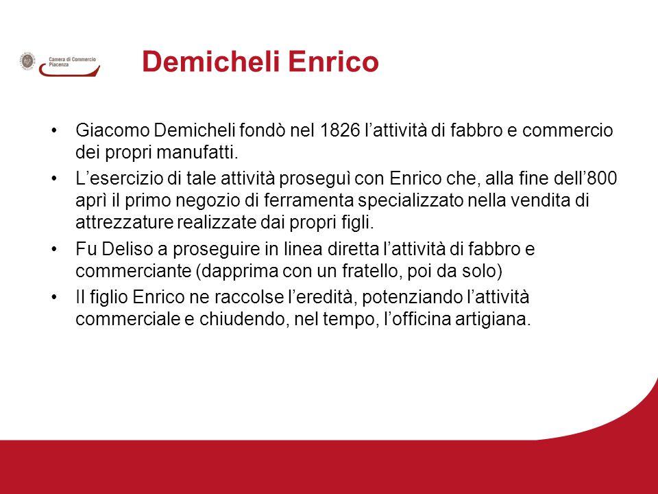 Demicheli Enrico Giacomo Demicheli fondò nel 1826 l'attività di fabbro e commercio dei propri manufatti.