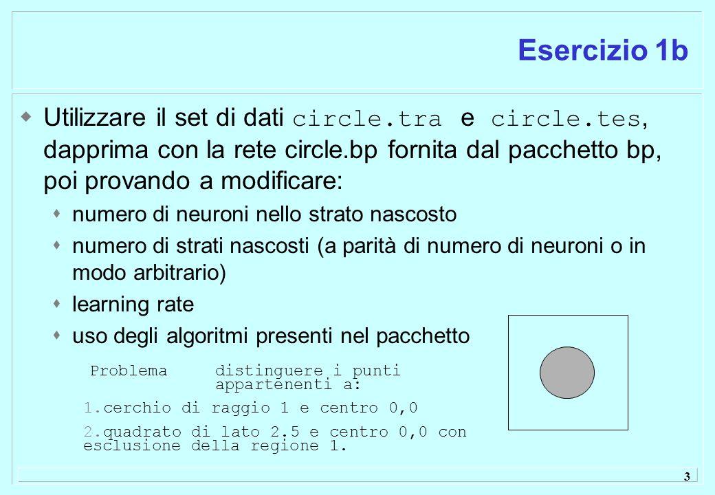 3 Esercizio 1b  Utilizzare il set di dati circle.tra e circle.tes, dapprima con la rete circle.bp fornita dal pacchetto bp, poi provando a modificare:  numero di neuroni nello strato nascosto  numero di strati nascosti (a parità di numero di neuroni o in modo arbitrario)  learning rate  uso degli algoritmi presenti nel pacchetto Problema distinguere i punti appartenenti a: 1.cerchio di raggio 1 e centro 0,0 2.quadrato di lato 2.5 e centro 0,0 con esclusione della regione 1.