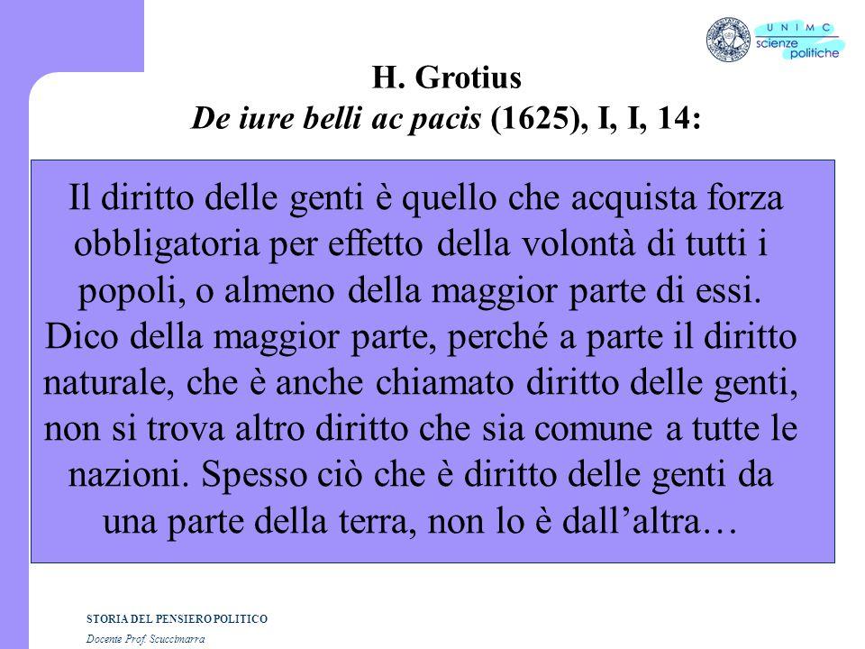 STORIA DEL PENSIERO POLITICO Docente Prof. Scuccimarra H. Grotius De iure belli ac pacis (1625), I, I, 14: Il diritto delle genti è quello che acquist