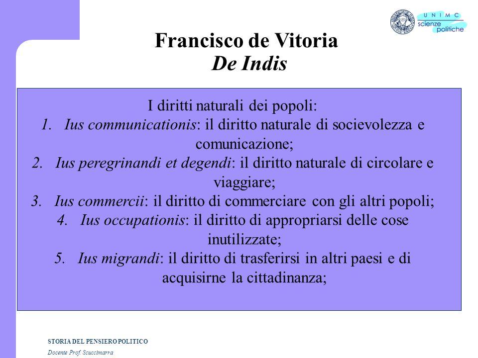 STORIA DEL PENSIERO POLITICO Docente Prof. Scuccimarra Francisco de Vitoria De Indis I diritti naturali dei popoli: 1.Ius communicationis: il diritto