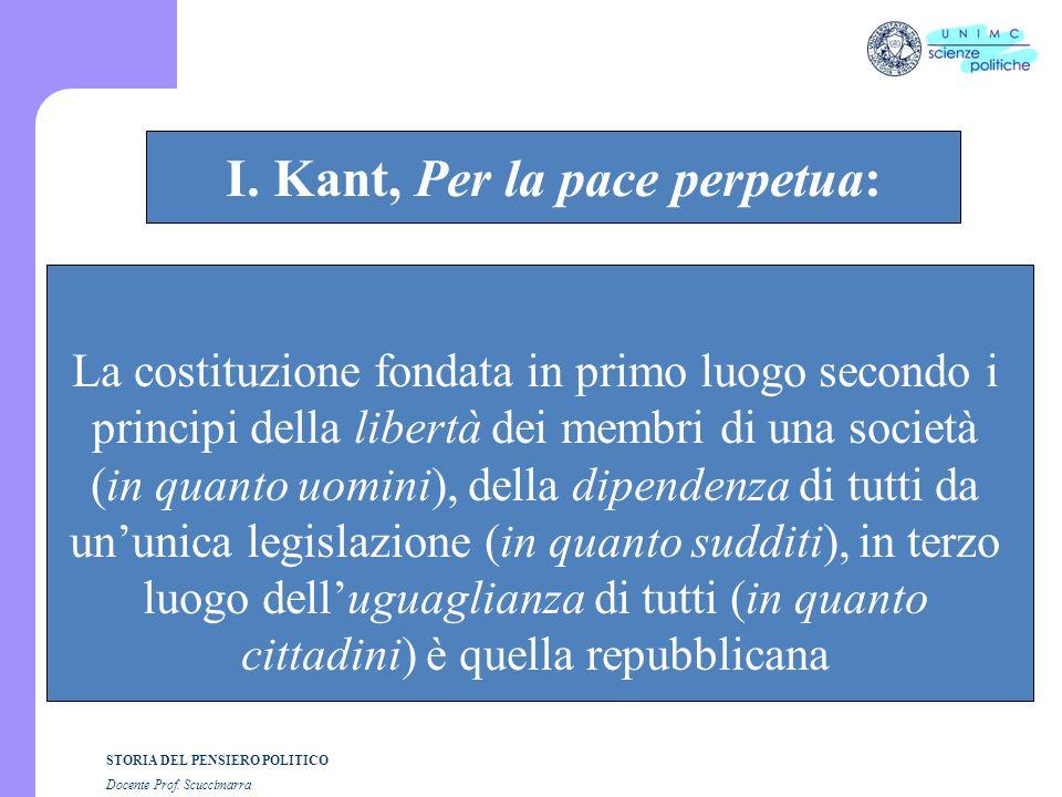 STORIA DEL PENSIERO POLITICO Docente Prof. Scuccimarra STORIA COSTITUZIONALE I. Kant, Per la pace perpetua: La costituzione fondata in primo luogo sec