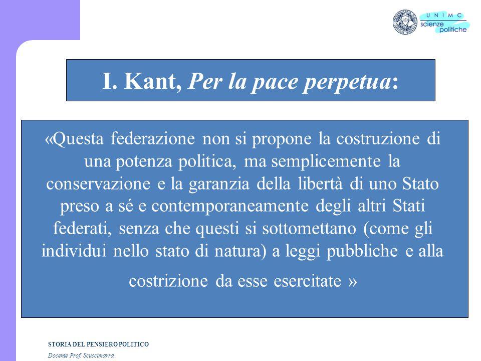 STORIA DEL PENSIERO POLITICO Docente Prof. Scuccimarra STORIA COSTITUZIONALE I. Kant, Per la pace perpetua: «Questa federazione non si propone la cost