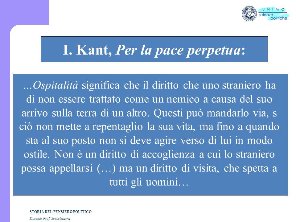 STORIA DEL PENSIERO POLITICO Docente Prof. Scuccimarra STORIA COSTITUZIONALE I. Kant, Per la pace perpetua: …Ospitalità significa che il diritto che u