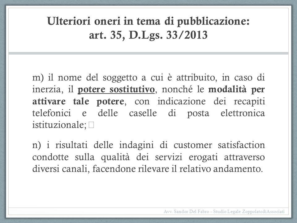 Ulteriori oneri in tema di pubblicazione: art. 35, D.Lgs. 33/2013 m) il nome del soggetto a cui è attribuito, in caso di inerzia, il potere sostitutiv