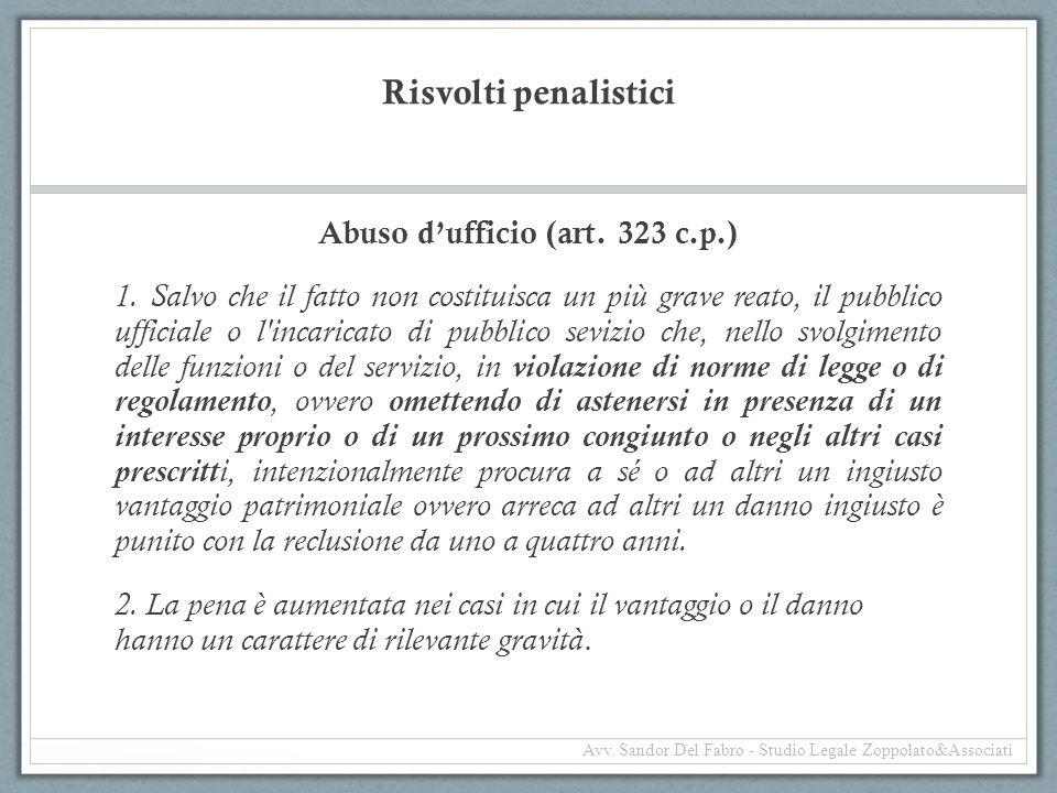 Risvolti penalistici Abuso d'ufficio (art. 323 c.p.) 1. Salvo che il fatto non costituisca un più grave reato, il pubblico ufficiale o l'incaricato di