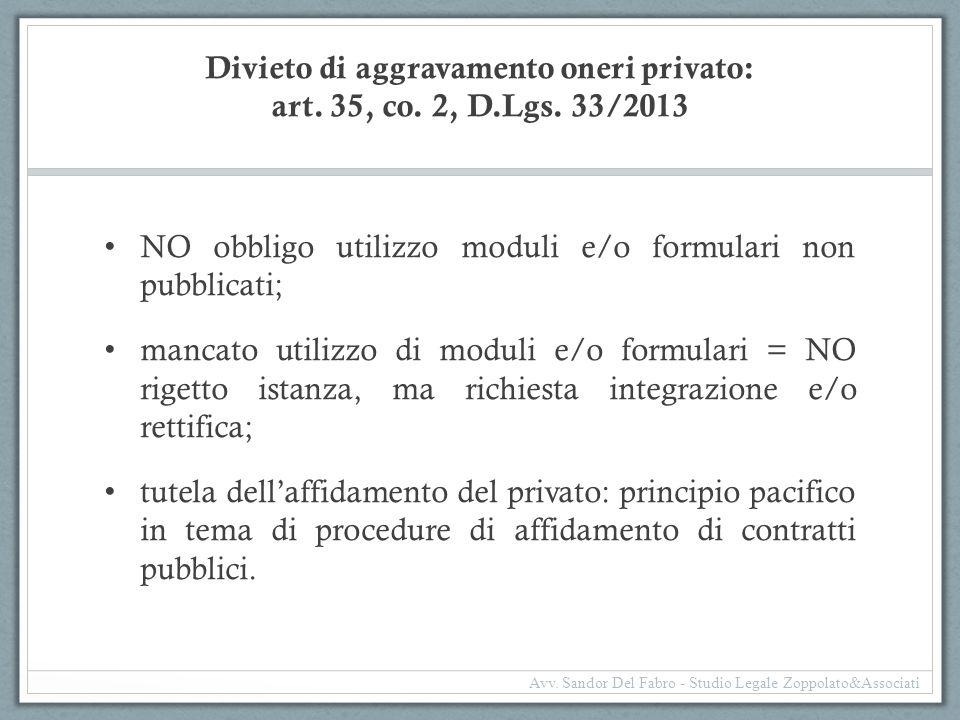 Divieto di aggravamento oneri privato: art. 35, co. 2, D.Lgs. 33/2013 NO obbligo utilizzo moduli e/o formulari non pubblicati; mancato utilizzo di mod