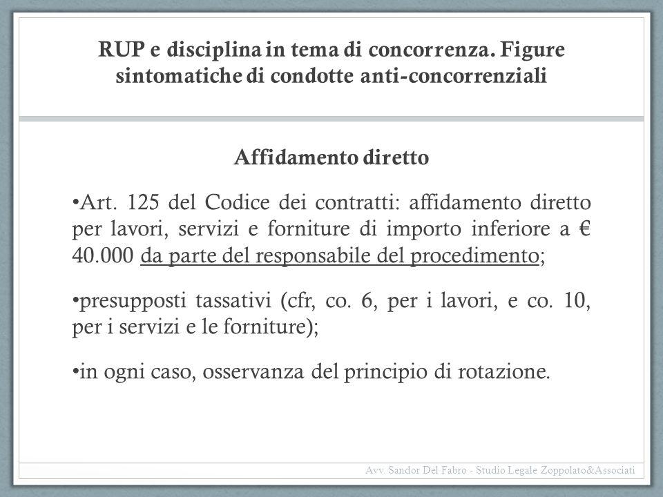 RUP e disciplina in tema di concorrenza. Figure sintomatiche di condotte anti-concorrenziali Affidamento diretto Art. 125 del Codice dei contratti: af