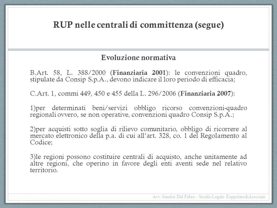 RUP nelle centrali di committenza (segue) Evoluzione normativa B.Art. 58, L. 388/2000 ( Finanziaria 2001 ): le convenzioni quadro, stipulate da Consip