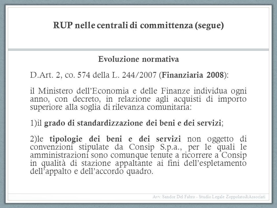 RUP nelle centrali di committenza (segue) Evoluzione normativa D.Art. 2, co. 574 della L. 244/2007 ( Finanziaria 2008 ): il Ministero dell'Economia e