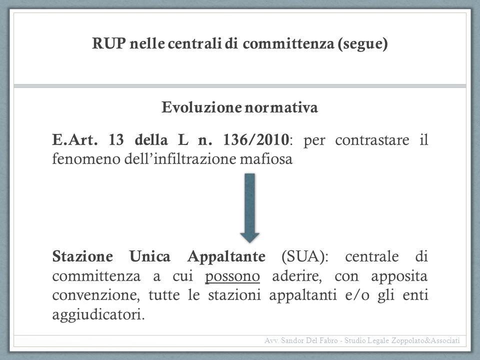RUP nelle centrali di committenza (segue) Evoluzione normativa E. Art. 13 della L n. 136/2010 : per contrastare il fenomeno dell'infiltrazione mafiosa