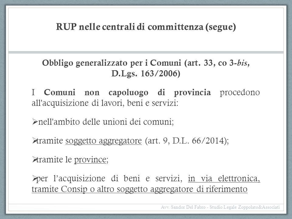 RUP nelle centrali di committenza (segue) Obbligo generalizzato per i Comuni (art. 33, co 3- bis, D.Lgs. 163/2006) I Comuni non capoluogo di provincia