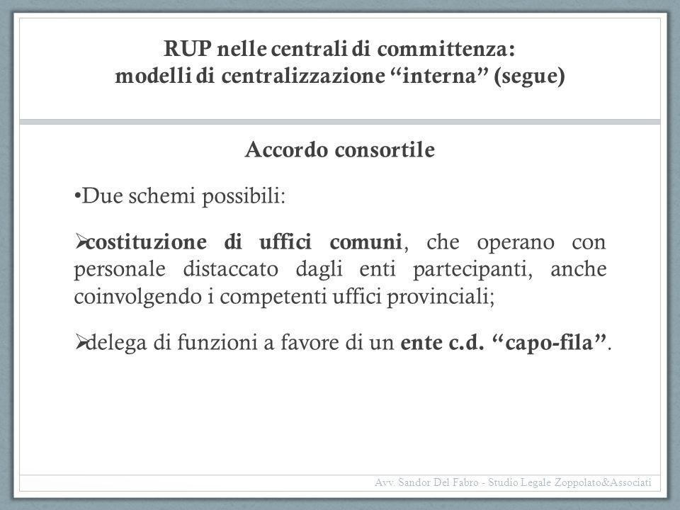 """RUP nelle centrali di committenza: modelli di centralizzazione """"interna"""" (segue) Accordo consortile Due schemi possibili:  costituzione di uffici com"""