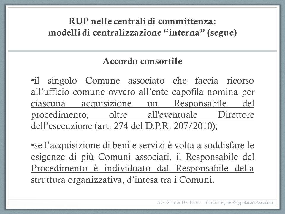 """RUP nelle centrali di committenza: modelli di centralizzazione """"interna"""" (segue) Accordo consortile il singolo Comune associato che faccia ricorso all"""