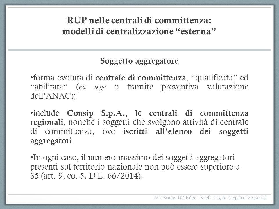 """RUP nelle centrali di committenza: modelli di centralizzazione """"esterna"""" Soggetto aggregatore forma evoluta di centrale di committenza, """"qualificata"""""""