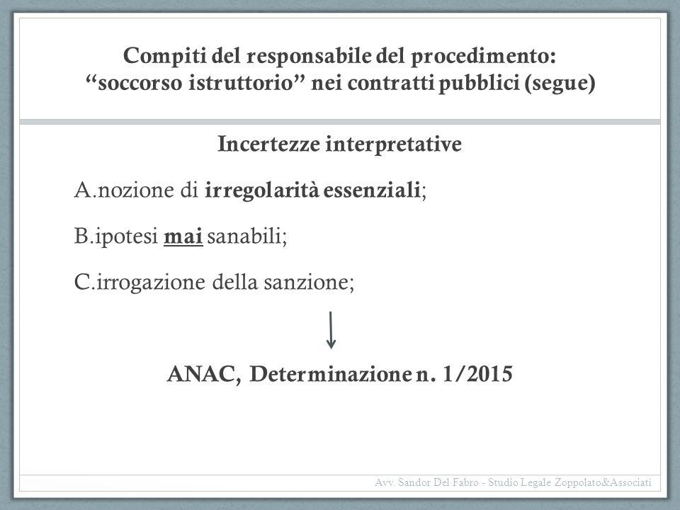 """Compiti del responsabile del procedimento: """"soccorso istruttorio"""" nei contratti pubblici (segue) Incertezze interpretative A.nozione di irregolarità e"""