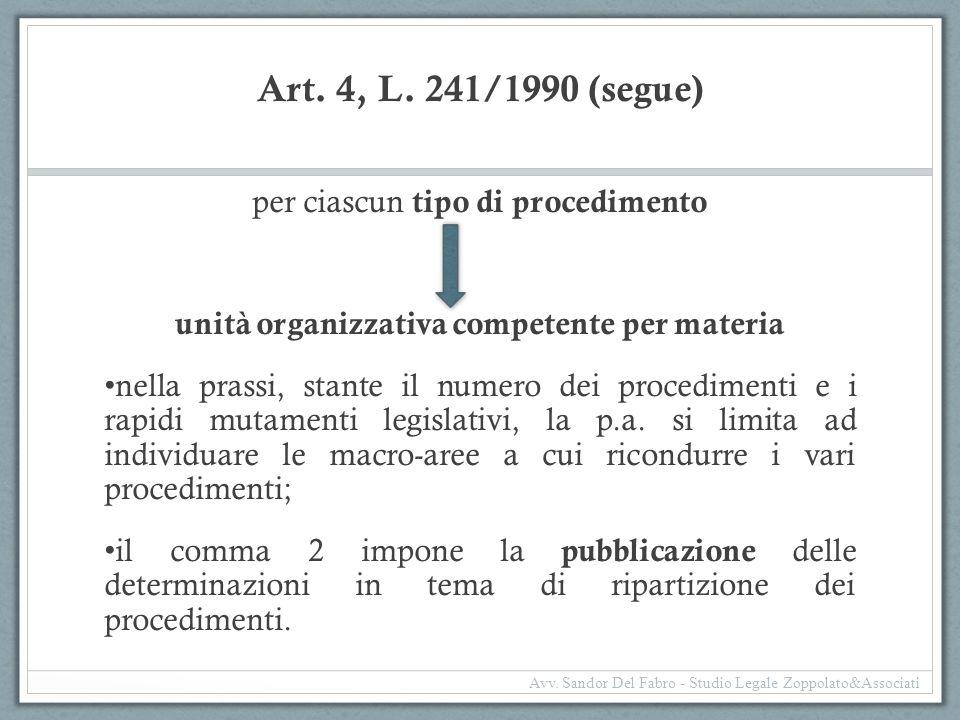 Art. 4, L. 241/1990 (segue) per ciascun tipo di procedimento unità organizzativa competente per materia nella prassi, stante il numero dei procediment