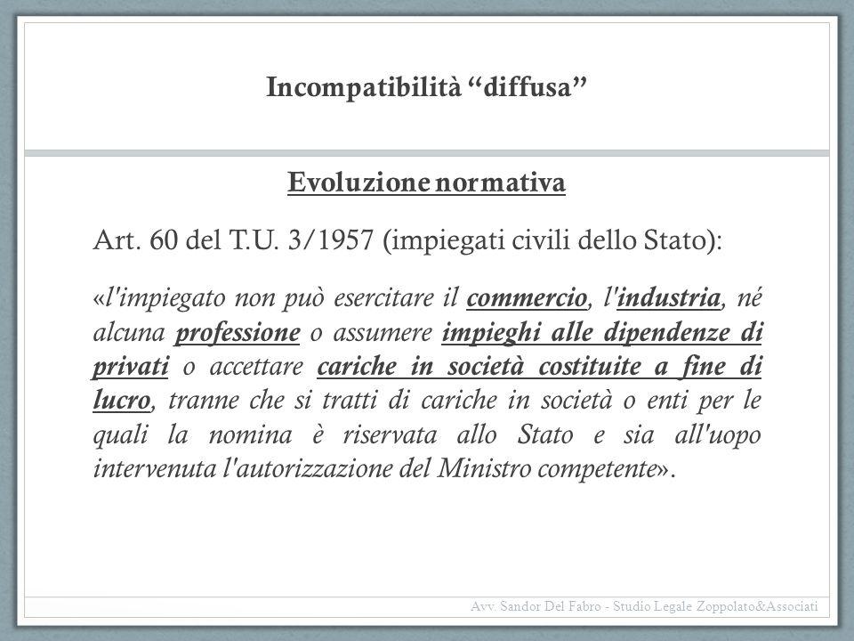 """Incompatibilità """"diffusa"""" Evoluzione normativa Art. 60 del T.U. 3/1957 (impiegati civili dello Stato): « l'impiegato non può esercitare il commercio,"""