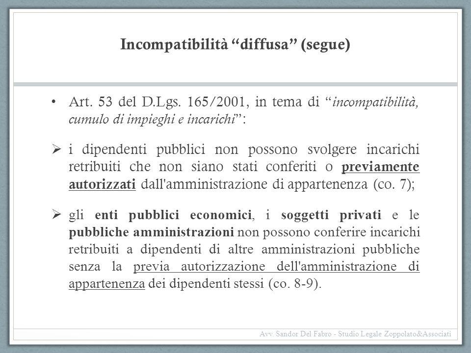 """Incompatibilità """"diffusa"""" (segue) Art. 53 del D.Lgs. 165/2001, in tema di """" incompatibilità, cumulo di impieghi e incarichi """":  i dipendenti pubblici"""