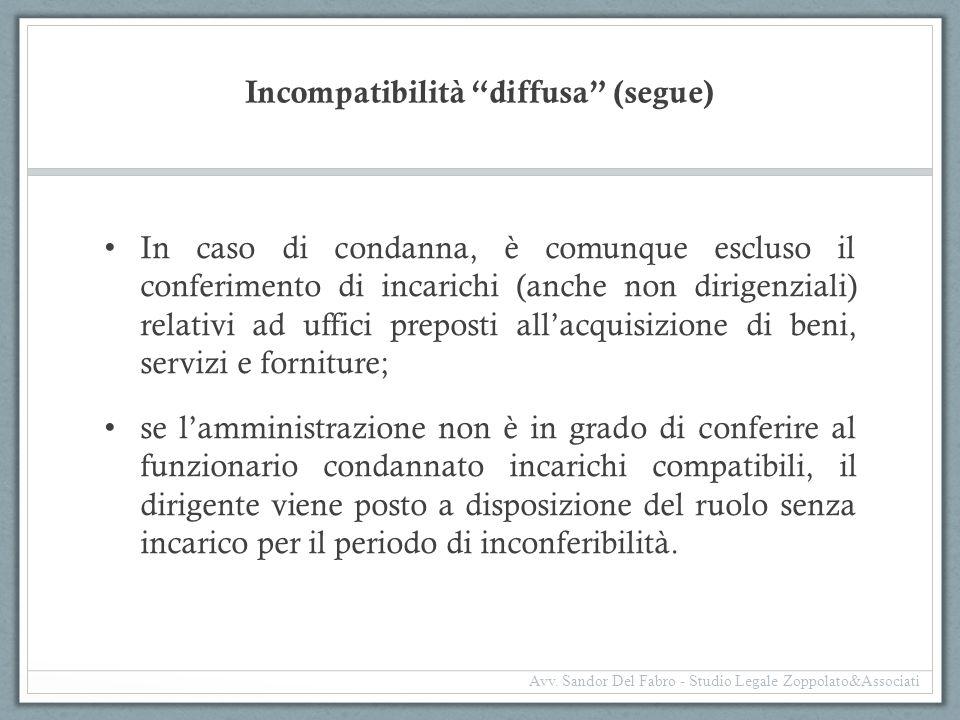 """Incompatibilità """"diffusa"""" (segue) In caso di condanna, è comunque escluso il conferimento di incarichi (anche non dirigenziali) relativi ad uffici pre"""