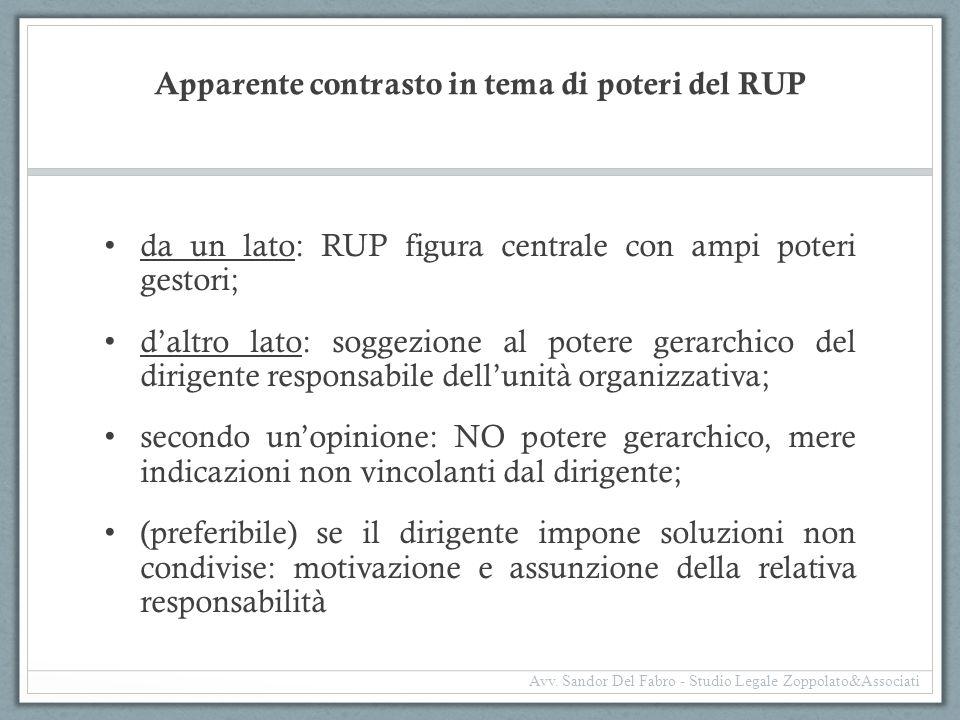Apparente contrasto in tema di poteri del RUP da un lato: RUP figura centrale con ampi poteri gestori; d'altro lato: soggezione al potere gerarchico d
