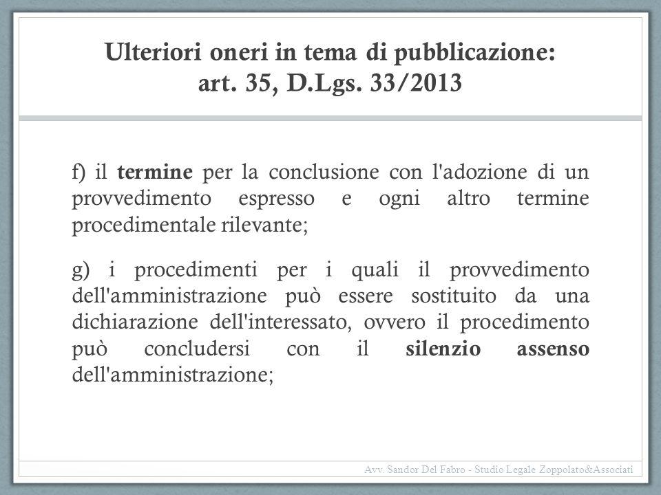 Ulteriori oneri in tema di pubblicazione: art. 35, D.Lgs. 33/2013 f) il termine per la conclusione con l'adozione di un provvedimento espresso e ogni