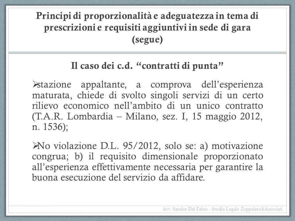 """Principi di proporzionalità e adeguatezza in tema di prescrizioni e requisiti aggiuntivi in sede di gara (segue) Il caso dei c.d. """"contratti di punta"""""""