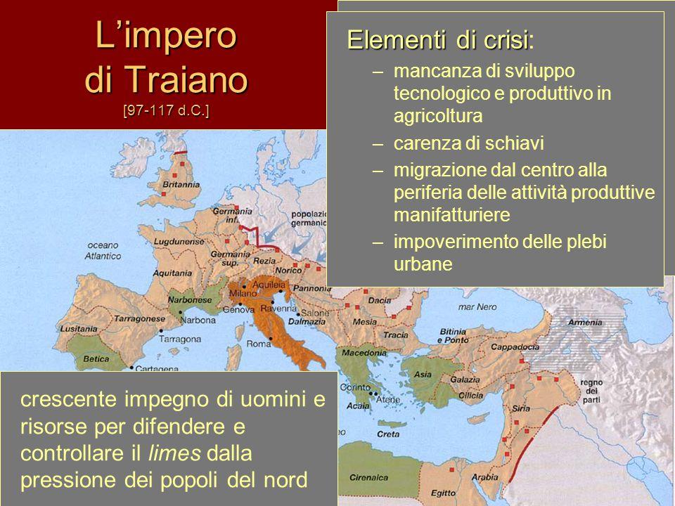 L'impero di Traiano [97-117 d.C.] Massima espansione e apogeo dell'impero –economia solida e stabile –mobilità sociale elevata –diffusione della cultu
