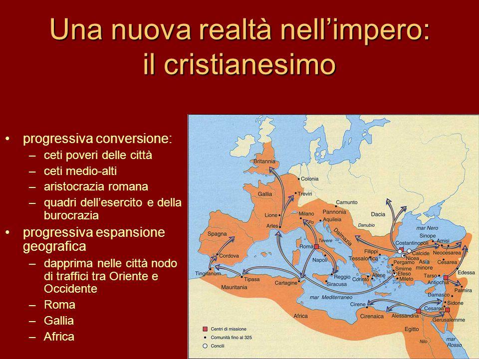 Una nuova realtà nell'impero: il cristianesimo progressiva conversione: –ceti poveri delle città –ceti medio-alti –aristocrazia romana –quadri dell'es