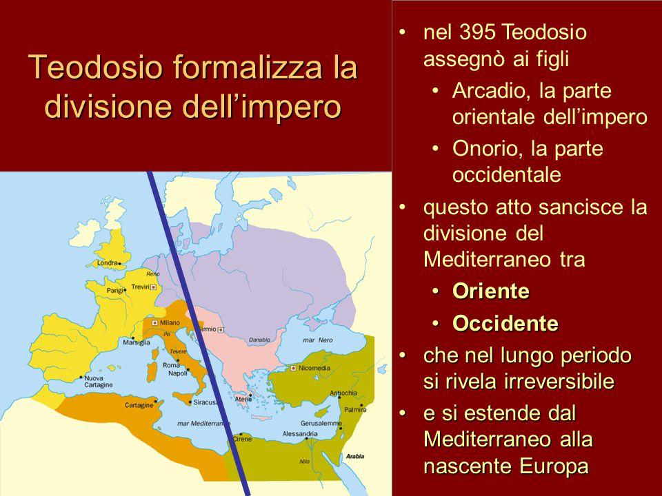 nel 395 Teodosio assegnò ai figli Arcadio, la parte orientale dell'impero Onorio, la parte occidentale questo atto sancisce la divisione del Mediterraneo tra OrienteOriente OccidenteOccidente che nel lungo periodo si rivela irreversibileche nel lungo periodo si rivela irreversibile e si estende dal Mediterraneo alla nascente Europae si estende dal Mediterraneo alla nascente Europa Teodosio formalizza la divisione dell'impero