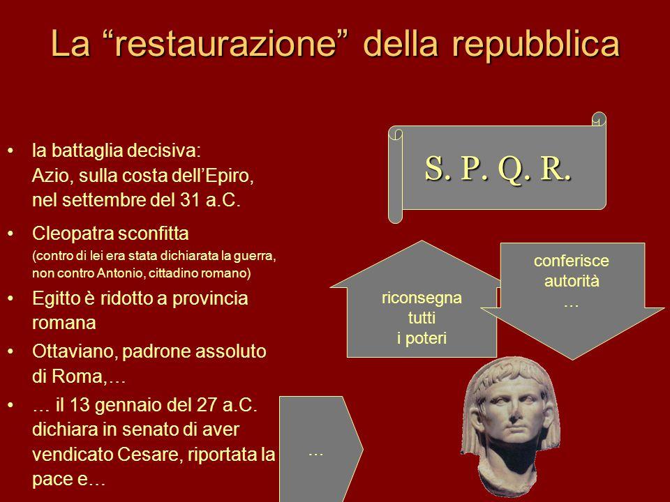 """La """"restaurazione"""" della repubblica la battaglia decisiva: Azio, sulla costa dell'Epiro, nel settembre del 31 a.C. Cleopatra sconfitta (contro di lei"""