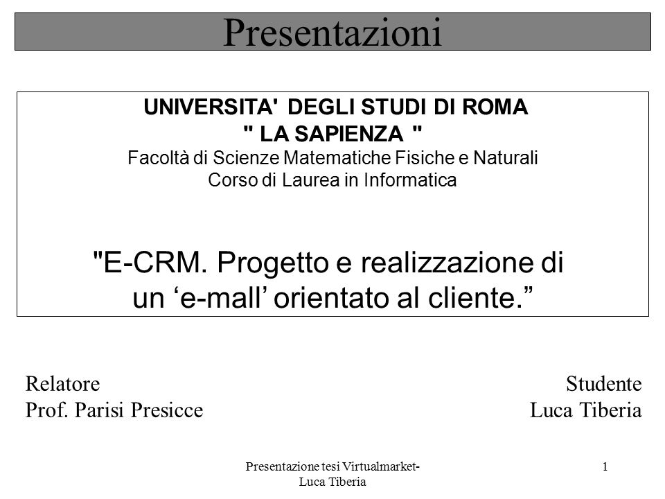 Presentazione tesi Virtualmarket- Luca Tiberia 1 UNIVERSITA' DEGLI STUDI DI ROMA