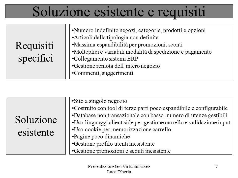 Presentazione tesi Virtualmarket- Luca Tiberia 7 Soluzione esistente e requisiti Sito a singolo negozio Costruito con tool di terze parti poco espandi