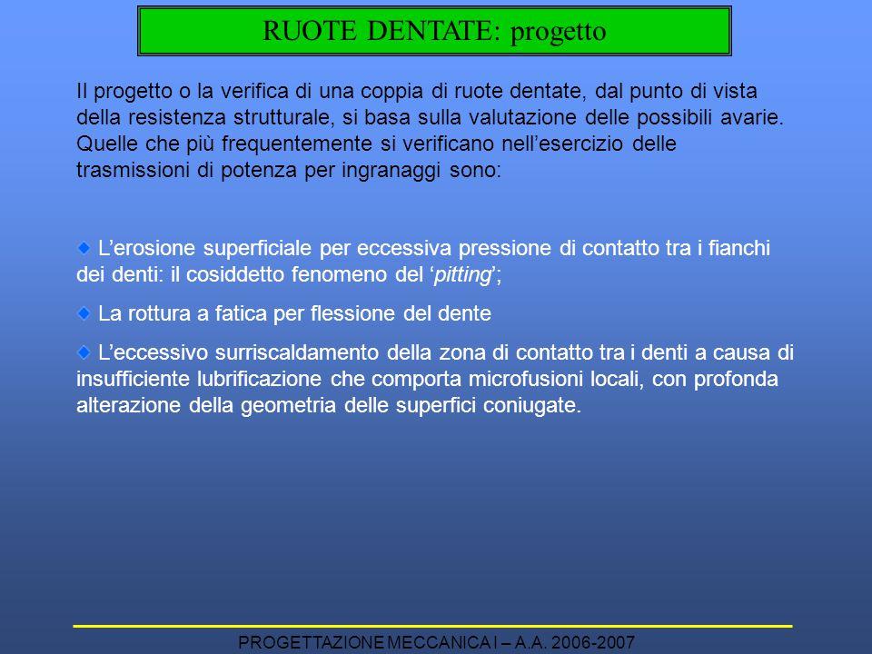 PROGETTAZIONE MECCANICA I – A.A. 2006-2007 RUOTE DENTATE: progetto Il progetto o la verifica di una coppia di ruote dentate, dal punto di vista della