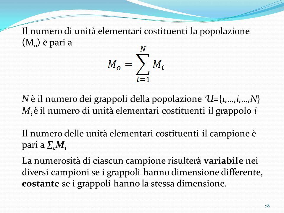 Il numero di unità elementari costituenti la popolazione (M o ) è pari a N è il numero dei grappoli della popolazione U ={1,…,i,…,N} M i è il numero di unità elementari costituenti il grappolo i Il numero delle unità elementari costituenti il campione è pari a ∑ c M i La numerosità di ciascun campione risulterà variabile nei diversi campioni se i grappoli hanno dimensione differente, costante se i grappoli hanno la stessa dimensione.