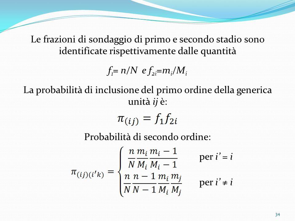 Le frazioni di sondaggio di primo e secondo stadio sono identificate rispettivamente dalle quantità f 1 = n/N e f 2i =m i /M i La probabilità di inclusione del primo ordine della generica unità ij è: Probabilità di secondo ordine: per i' = i per i' ≠ i 34
