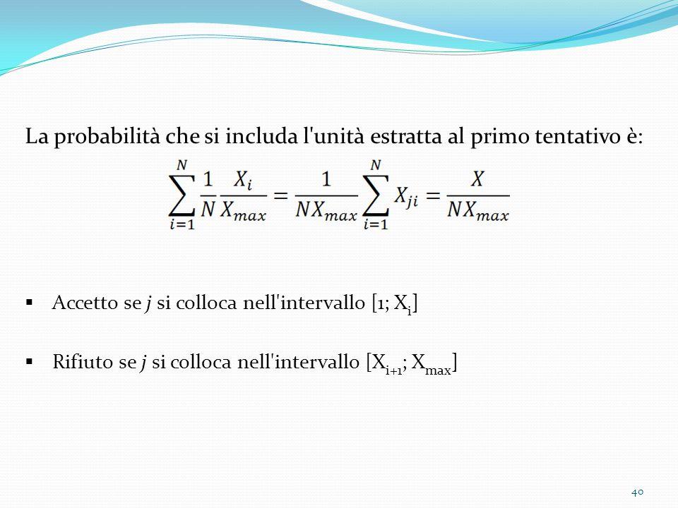 La probabilità che si includa l unità estratta al primo tentativo è:  Accetto se j si colloca nell intervallo [1; X i ]  Rifiuto se j si colloca nell intervallo [X i+1 ; X max ] 40