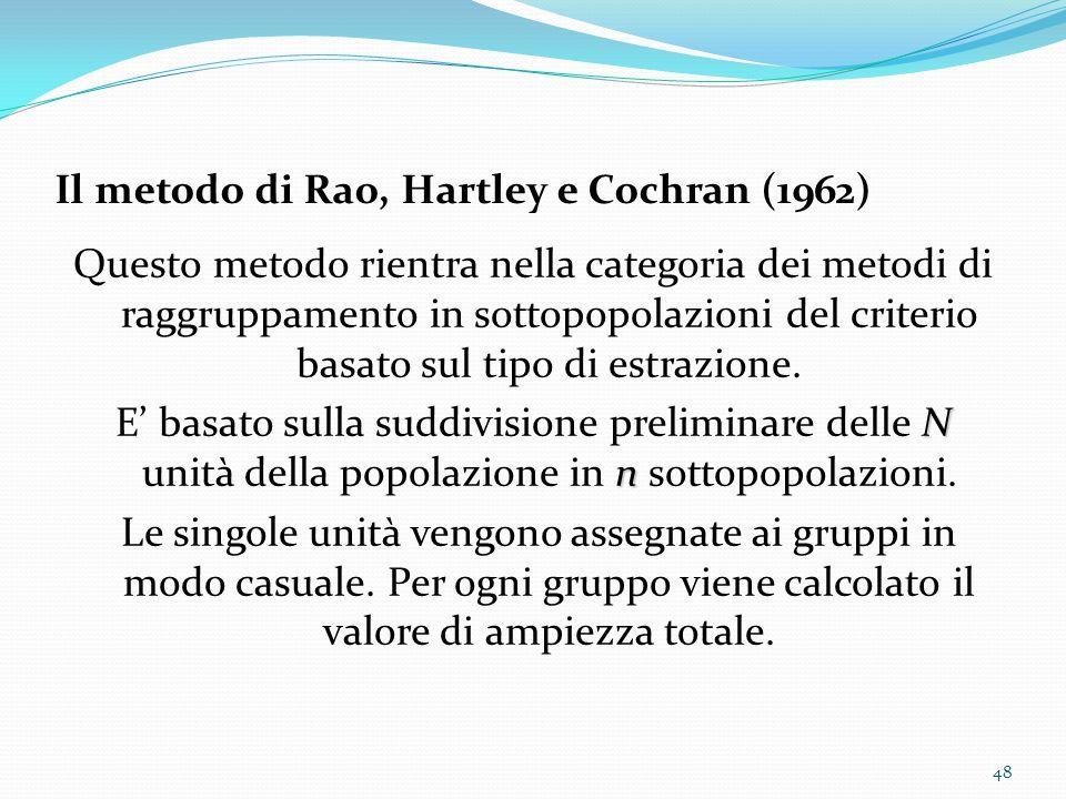 Il metodo di Rao, Hartley e Cochran (1962) Questo metodo rientra nella categoria dei metodi di raggruppamento in sottopopolazioni del criterio basato sul tipo di estrazione.