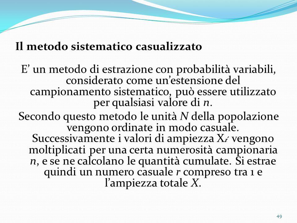 Il metodo sistematico casualizzato E' un metodo di estrazione con probabilità variabili, considerato come un'estensione del campionamento sistematico, può essere utilizzato per qualsiasi valore di n.