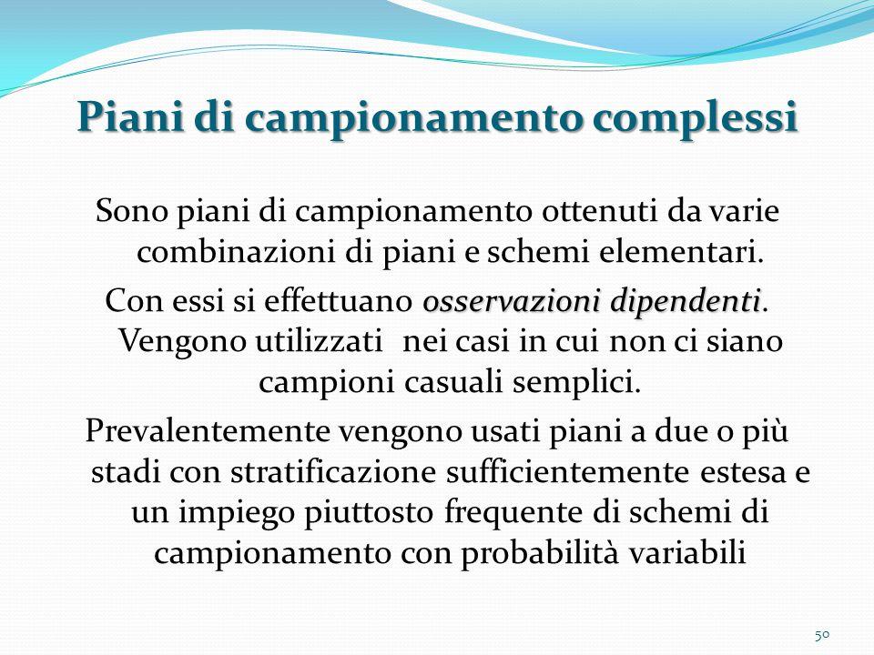 Piani di campionamento complessi Sono piani di campionamento ottenuti da varie combinazioni di piani e schemi elementari.
