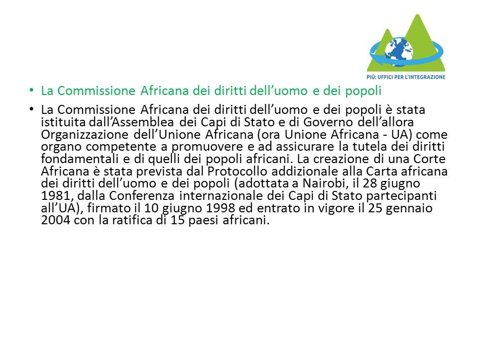 La Commissione Africana dei diritti dell'uomo e dei popoli La Commissione Africana dei diritti dell'uomo e dei popoli è stata istituita dall'Assemblea