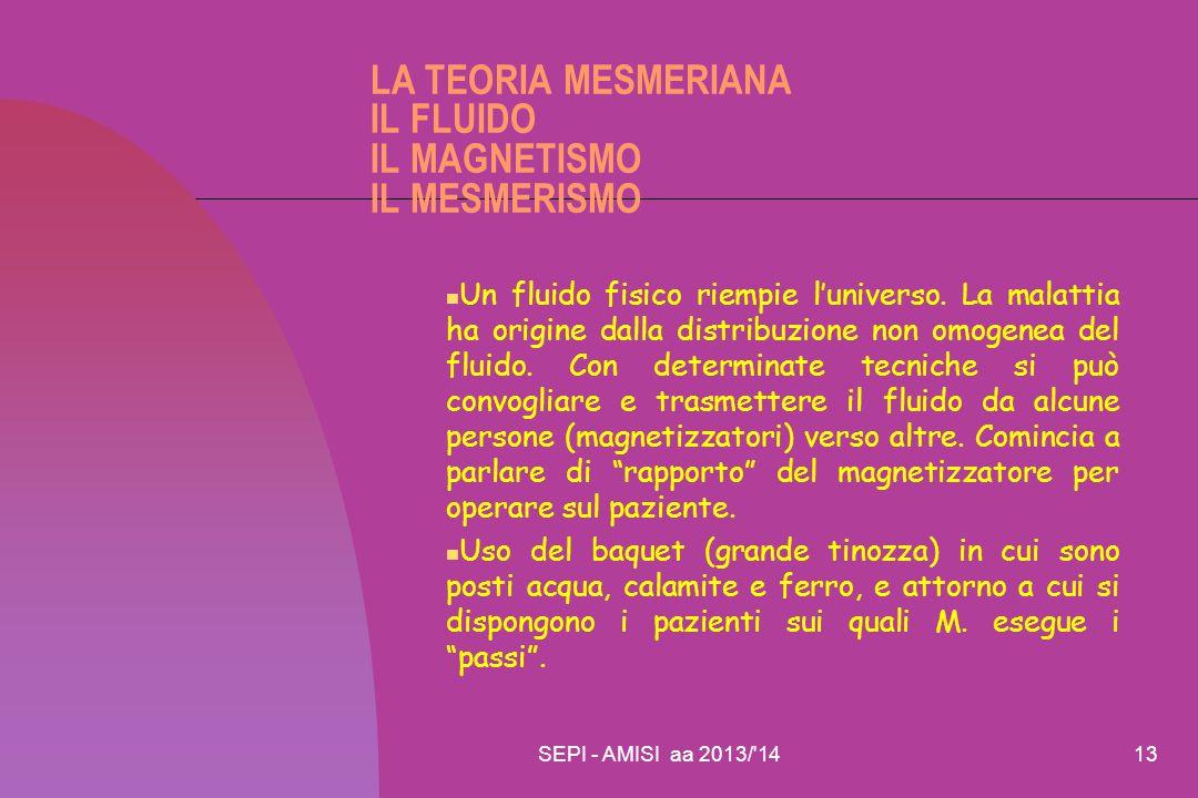SEPI - AMISI aa 2013/'1413 LA TEORIA MESMERIANA IL FLUIDO IL MAGNETISMO IL MESMERISMO Un fluido fisico riempie l'universo. La malattia ha origine dall