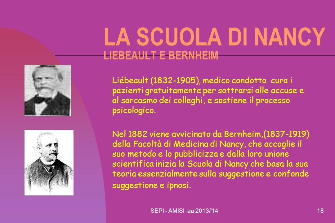 SEPI - AMISI aa 2013/'1418 LA SCUOLA DI NANCY LIEBEAULT E BERNHEIM Liébeault (1832-1905), medico condotto cura i pazienti gratuitamente per sottrarsi