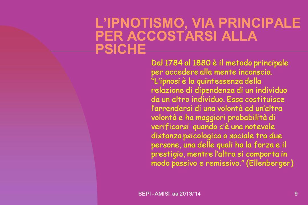 SEPI - AMISI aa 2013/'149 L'IPNOTISMO, VIA PRINCIPALE PER ACCOSTARSI ALLA PSICHE Dal 1784 al 1880 è il metodo principale per accedere alla mente incon