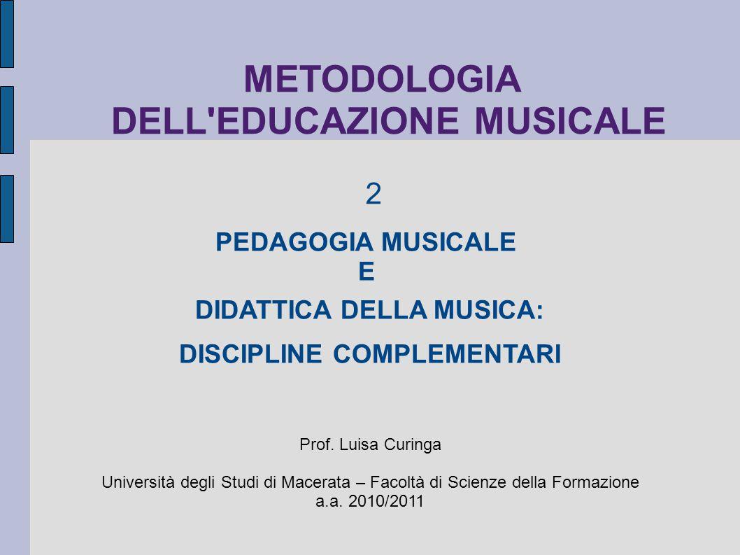 PEDAGOGIA MUSICALE E DIDATTICA DELLA MUSICA: DISCIPLINE COMPLEMENTARI Prof. Luisa Curinga Università degli Studi di Macerata – Facoltà di Scienze dell