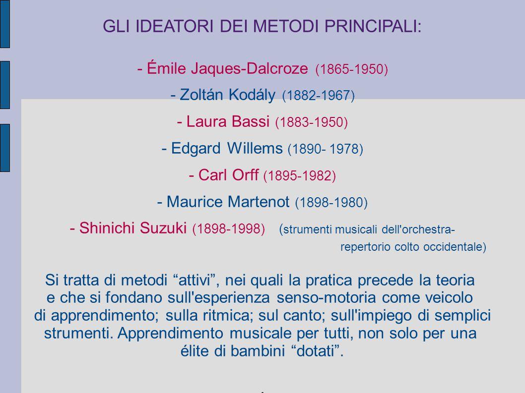 GLI IDEATORI DEI METODI PRINCIPALI: - Émile Jaques-Dalcroze (1865-1950) - Zoltán Kodály (1882-1967) - Laura Bassi (1883-1950) - Edgard Willems (1890-